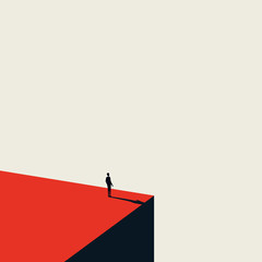 Business vision and opportunity vector concept in minimalist art style. Businessman standing on the edge of cliff looking ahead. Symbol of future, career opportunity, success.