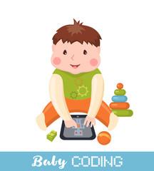 Little boy learning coding on tablet.