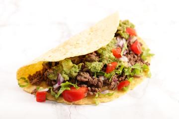 tacos, fajita on white background Wall mural