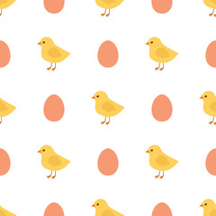 Vector chicken seamless pattern. Yellow chicks and eggs seamless pattern.