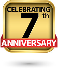 Celebrating 7th years anniversary gold label, vector illustration
