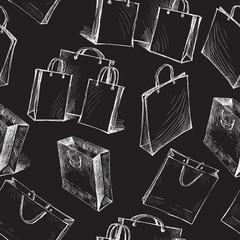 Seamless pattern of the bags for purchases