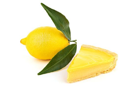 Fresh tasty lemon cheesecake and lemon fruit
