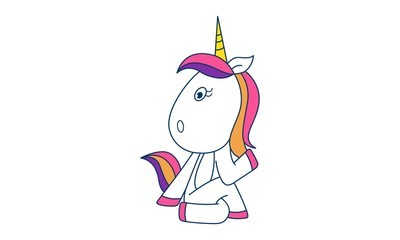 Vector cartoon illustration of cute unicorn sitting with style. Isolated on white background.
