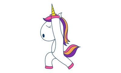 Vector cartoon illustration of cute unicorn dancing. Isolated on white background.