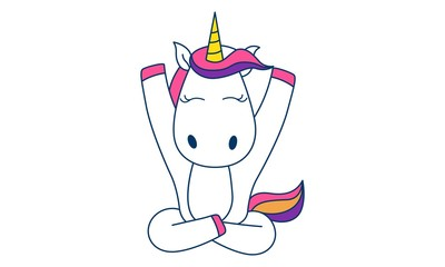 Vector cartoon illustration of cute unicorn sitting with open hands. Isolated on white background.