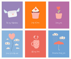 Foto auf Leinwand Abbildungen Set of cute Valentines day cards with umbrella, balloon, mug, cupcake, flower pot, love letter, text. Hand drawn vector illustration. Scandinavian style flat design. Concept for children print.