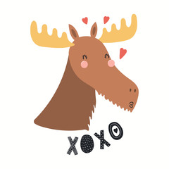 Wall Murals Illustrations Hand drawn Valentines day card with cute funny moose, hearts, text XOXO. Isolated objects on white background. Vector illustration. Scandinavian style flat design. Concept for children print.