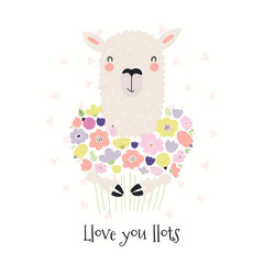 Hand drawn Valentines day card with cute funny llama holding flowers, text Llove you llots. Isolated objects on white . Vector illustration. Scandinavian style flat design. Concept for children print.