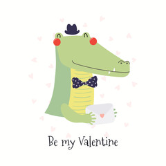Wall Murals Illustrations Hand drawn card with cute funny crocodile holding love letter, text Be my Valentine. Isolated objects on white background. Vector illustration. Scandinavian style flat design. Concept children print.