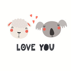 Hand drawn Valentines day card with cute funny sheep, koala, hearts, text Love you. Isolated objects on white background. Vector illustration. Scandinavian style flat design. Concept children print.