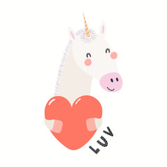 Hand drawn Valentines day card with cute funny unicorn holding heart, text Luv. Isolated objects on white background. Vector illustration. Scandinavian style flat design. Concept for children print.