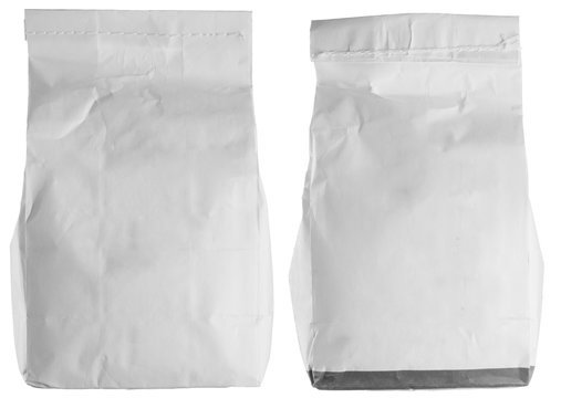 White flour package isolated on white