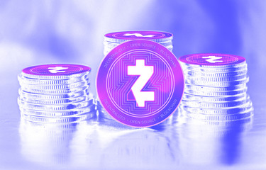 Zcash (ZEC) digital crypto currency. Stack of coins. Cyber money.