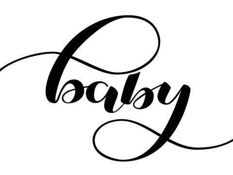 Baby lettering. Romantic word for postcard, poster or clothes. Vector illustration