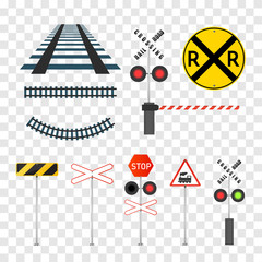 Railway signs set isolated on transparent background. Vector eps10.