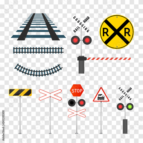 Railway signs set isolated on transparent background  Vector