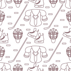 Sport seamless pattern. Hockey equipment.