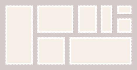 Blank Postage Stamps Set. Vector illustration blank postage stamps collection.