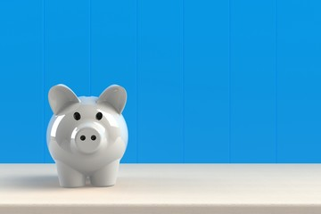Close up of piggy bank isolated on blue background, Copy space, Finance concept, 3d rendering