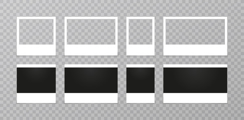 Retro realistic vector photo frame set placed on transparent background. illustration.