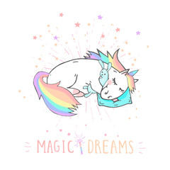 Vector illustration of hand drawn sleeping unicorn with bunny toy and text- MAGIC DREAMS on withe background.