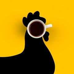 Top view of a cup of coffee in the form of chicken isolated on yellow background, Coffee concept illustration, 3d rendering