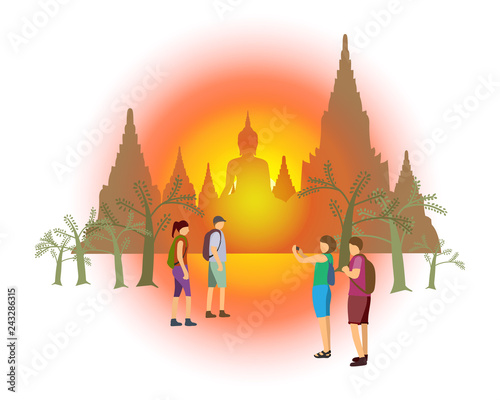 vector of walk tracks in the history park in ayutthaya