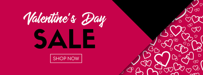 Valentine's Day sale vector banner. Long poster template for online shopping