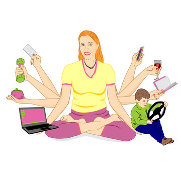 An adult woman with eight hands sits in a lotus position and holds various items. The concept of a modern woman who manages to do a lot of things, meditation for sedation