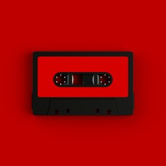 Close up of vintage audio tape cassette illustration on red background, Top view with copy space, 3d rendering