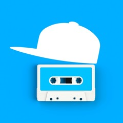 Close up of vintage audio tape cassette with hat concept illustration on blue background, Top view with copy space, 3d rendering