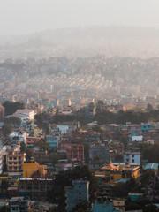 Building layers at foggy Kathmandu, Nepal.