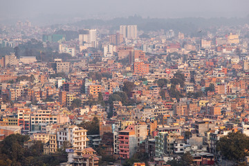 Dense layer of buildings at Kathmandu city, Nepal.