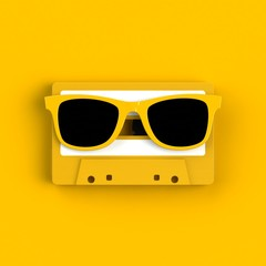 Close up of vintage audio tape cassette with glasses concept illustration on yellow background, Top view with copy space, 3d rendering