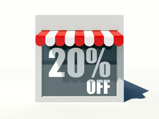 20% off sign on small shop store facade with red awning