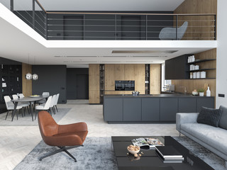new modern city loft apartment. 3d rendering