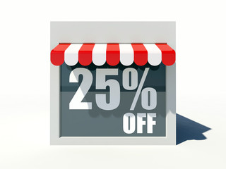 25% off sign on small shop store facade with red awning