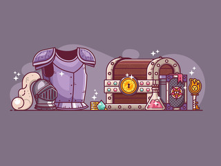 Fantasy RPG game loot and battle equipment for warrior hero. Dungeon crawler heroic adventure knight staff concept with armor, helmet, gem, spell book, magic potion, treasure chest with key and gold.