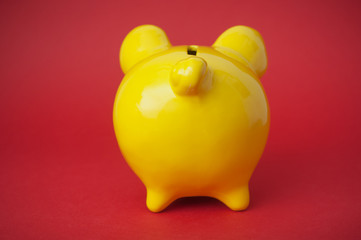 closeup of yellow piggy bank on red background on back view