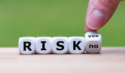"Take a risk? Hand turns dice and changes the word ""no"" to ""yes"" (or vice versa)"