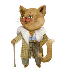Mafia gangster boss cat. Cartoon criminal character. Isolated object on white background. Watercolor illustration