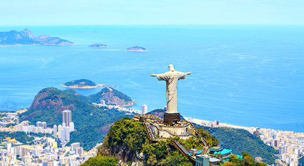 Wall Mural - Aerial view of Rio de Janeiro with Christ Redeemer and Corcovado Mountain. Brazil. Latin America, horizontal