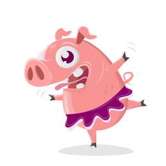 funny pig is a ballet dancer