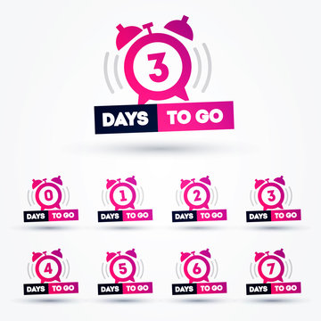 Vector illustration days to go flat icon with clock. Number 1 to 7
