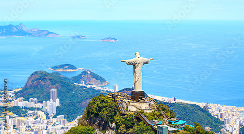Wall mural Aerial view of Rio de Janeiro with Christ Redeemer and Corcovado Mountain. Brazil. Latin America, horizontal