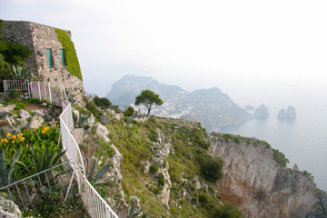 View of from the top of the isle of Capri, off the southern coast of Italy.