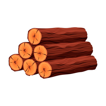 Stack of firewood materials for lumber industry isolated on white background. Pile of wood logs tree trunk - flat vector illustration