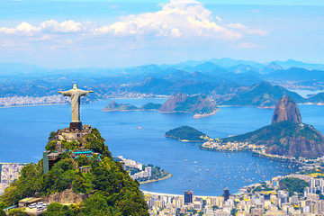 Aerial view of Rio de Janeiro with Christ Redeemer and Corcovado Mountain. Brazil. Latin America, horizontal Wall mural