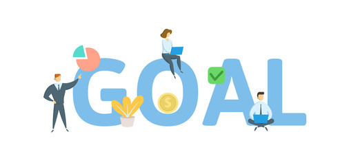 GOAL word concept banner. Concept with people, letters and icons. Colored flat vector illustration. Isolated on white background.
